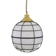 The Hudson is a large frosted glass globe pendant light that is enclosed inside a black metal cage. This cage glass pendant measures 32cm in diameter.