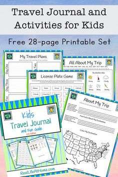 Travel Journal for Kids – Free Printable Packet Looking for fun activities, travel games, and journaling pages for traveling with kids? This free travel journal for kids will be a great addition to your next trip! Kids Travel Activities, Road Trip Activities, Activities For Kids, Road Trip With Kids, Travel With Kids, Family Travel, Family Vacations, Travel Journal Pages, Travel Journal For Kids