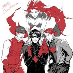 """akitron: """" nova-bright: """" discowing: """" jesic: """" """" Red Hood and the Outlaws, by moffwhite """" Yep, Dick's dream come true all right. """" tee hee """" It's the league of Dick's sexy ginger ex's, let's not even front. """" awwww yeahhhhh """" he looks like he's. Robin Dc, Batman Robin, Redhood And The Outlaws, Dc Comics, Red Hood Jason Todd, Bat Boys, Dc Memes, Wonder Woman, Batman Family"""