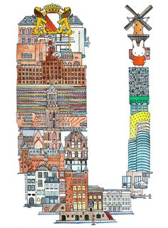 Utrecht - ABC illustration series of European cities by Japanese illustrator Hugo Yoshikawa
