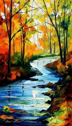 Colorful forest and winding stream Palette Knife painting.