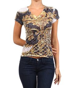 Another great find on #zulily! Gray & Gold Leopard V-Neck Tee #zulilyfinds