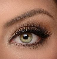 I really like the shimmery brown look! That's about as brave as I get w/color. I'm afraid to add color because of 1) my hazel eyes and 2) my pale-ish skin tone. But I'm digging the browns though! It makes hazel eyes pop, and it sticks with the earth tones that I heart so much! :)