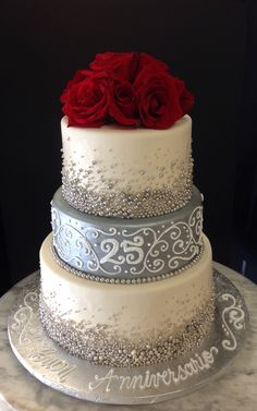 anniversary Birthday cake with red roses and white roll design 25th Marriage Anniversary, 25th Wedding Anniversary Cakes, Anniversary Cake Designs, Anniversary Party Decorations, Anniversary Quotes, Wedding Cake Display, Silver Cake, Red Roses, Birthday Cake
