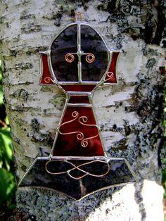 Thors Hammer Stained Glass Suncatcher.