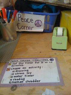 "This Peace Corner has a menu of options for how to calm down, including ""Human Shredder"". The kids could rip up scrap paper in a ""shredder box"" to vent their anger and frustration."