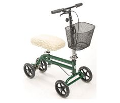 Buy KneeRover Steerable Knee Scooter Knee Walker Crutches Alternative in Green - Includes Removable Basket and Sheepette Knee Pad Cover Knee Scooter, Look Good Feel Good, Crutches, Electric Bicycle, Electric Cars, Go Kart, Carbon Fiber, Bike, Cover