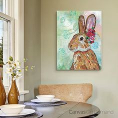 "Complement your traditional kitchen design with contemporary wall art like ""Rabbit"" by Lisa Morales. See more at CanvasOnDemand.com"