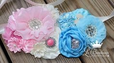 Gender Reveal Maternity Belt Belly Band by LaBandeauxBowtique Gender Reveal Pictures, Baby Dumbo, Maternity Belt, Satin Flowers, Belly Bands, Reveal Parties, Gender Neutral, Pink, Aqua Blue
