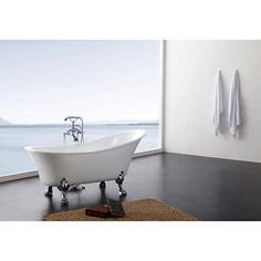 """Hibana 69"""" Acrylic Clawfoot Tub with Faucet and Handheld Shower"""