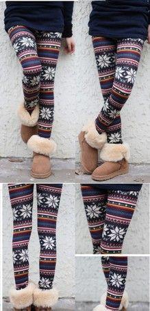 Fairisle Nordic Knitted Wool leggings, perfect for winter