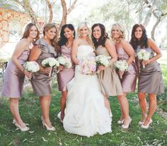 mismatched bridesmaids pink, champagne and grey (dresses by Watters and Monique Lhuillier)