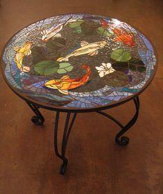 MOSAIC+KOI+TABLE++custom+order+tabletop++30+by+ParadiseMosaics,+$900.00