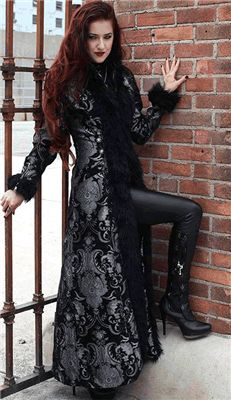 Shrine - BLACK FOREST Gothic Victorian COAT - SILVER/BLACK TAPESTRY