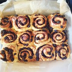 Homemade Chelsea Buns recipe is a revelation. Stuffed full of dried fruit and spices and baked in an enriched dough these are perfect any time of the day. Chelsea Bun Recipe, Dried Fruit, Buns, Sausage, Spices, Homemade, Baking, Recipes, Food
