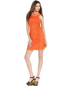 Bar III Dress, Sleeveless High-Neck Lace Sheath