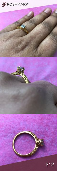 Blue stone filigree design ring Never worn Jewelry Rings