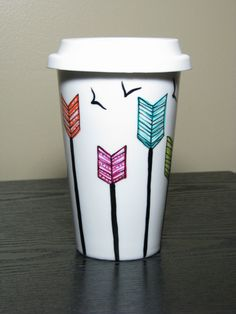 Travel Coffee Mug Painted Porcelain Arrows and by PrettyMyDrink, $25.00