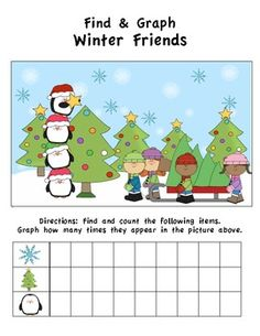 $ Winter Friends Find & Graph Activity (3 Total)