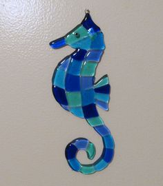 Fused Glass Seahorse Wall Art, Ocean Beach Glass Decor, Turquoise Blue and Aquamarine Glass Seahorse Fused Glass Ornaments, Fused Glass Plates, Fused Glass Art, Dichroic Glass, Turquoise Wall Decor, Turquoise Walls, Mosaic Art, Mosaic Glass, Mosaic Crafts