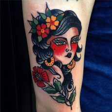 Traditional Girl Tattoo by Luke Jinks. For inquires and bookings contact Luke directly lukejinks@gmail.com. #tattoo #tattoos #girltattoo #tradition #traditional #london #tattooslondon #shoreditch #bricklane #eastlondon #cheshirestreet #cloakanddaggerlondon