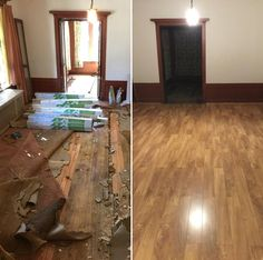 """""""The house is 100 years old and had carpet covering the original wood floors. When we pulled back the carpet, we found that the original floors had been ruined!!! Some had be cut out and replaced with wood that did not match. Because of the cost to refinish the original wood I decided to go with the laminate and could not be happier!!!"""" - Seqorey, IL"""