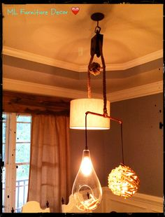 We mixed textures and shapes to build this original light fixtures! ML Furniture Decor