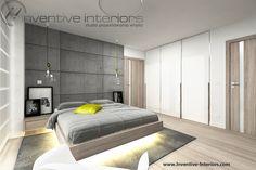 Projekt sypialni Inventive Interiors - beton na ścianie za łóżkiem w nowoczesnej sypialni