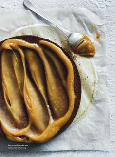 date & walnut cake with butterscotch toffee icing.  donna hay magazine