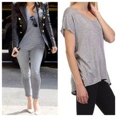 Oversized V neck T Great great light knot oversized V neck T this fabulous top comes in lots of colors PLEASE USE Poshmark new option you can purchase and it will give you the option to pick the size you want ( all sizes are available) BUNDLE And SAVE 10% ( sizes updated daily ) Tops