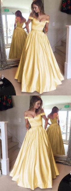 Charming Prom Dress,v-neck long Prom Dress,satin Prom Dress,gold prom dresses 2018, off the shoulder evening gowns beaded sashes