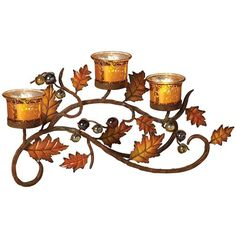 Metallic Leaf Tealight Candle Holder (Mercury) ($65) ❤ liked on Polyvore featuring home, home decor, candles & candleholders, fall home decor, fall candle holders and autumn home decor