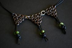 Copper and Leather Chainmaille Necklace by DeannaKJohnson on Etsy, $50.00
