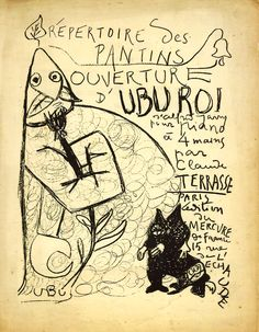 ALFRED JARRY. Ouverture d'Ubu Roi, tiré de Répertoire des Pantins. 1898. Lithographie, Spencer Museum of Art.