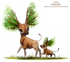 Daily Paint Oakapi by Cryptid-Creations on DeviantArt Cute Fantasy Creatures, Mythical Creatures Art, Cute Creatures, Cute Food Drawings, Cute Animal Drawings, Kawaii Drawings, Pet Drawings, Anime Animals, Cute Animals