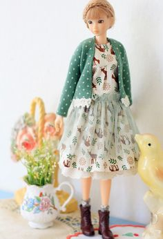 Sugarbabylove - Deer set for Momoko    This item is completely handmade.    Sale item is for Included:  - Cardigan - Onepiece  - underskirt  -