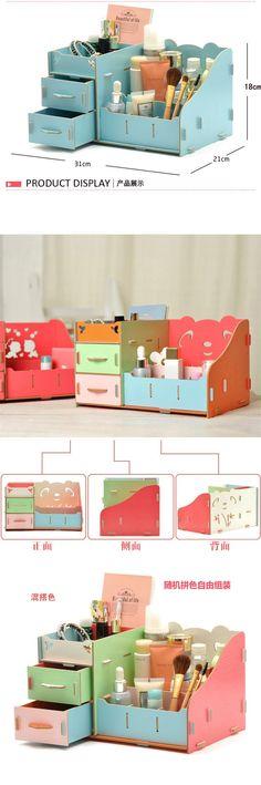 Alta calidad de escritorio madera caja de almacenamiento moda organizador de escritorio caja de almacenamiento de lápiz / cosmética / maquillaje caja de almacenamiento en Cajas y Papeleras de Almacenamiento de Casa y Jardín en AliExpress.com | Alibaba Group