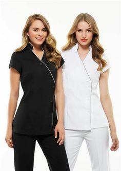 BLACK,Ladies Zen Tunic Crossover,Chemist Beauty Salon Medical WOMENS New UNIFORM