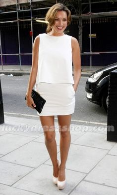 Kelly Brook White Short/Mini Dress at Reebok Zig Tech and Wallpaper Private View (MF64B2)