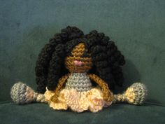 Mini Pocket Pal  Crochet African Doll Plush Afro by LeenGreenBean