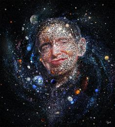 The amazing universe of Stephen Hawking (Limited edition fine art prints) Mosaic portrait of Stephen Hawking made out of stars, planets, galaxies… – Limited editions of 150 numbered fine art prints, created with the… Stephen Hawking Images, Stephan Hawkings, Mosaic Portrait, Idol, Nerd, Rick Y, Photo Mosaic, Photoshop, Science Art