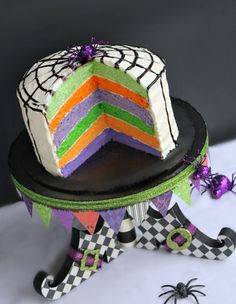 Idea Room& Rainbow Cake Recipe with halloween colors on the Witch Shoe Cake Stand Dulces Halloween, Theme Halloween, Halloween Baking, Halloween Goodies, Holidays Halloween, Spooky Halloween, Halloween Treats, Halloween Decorations, Halloween Birthday Cakes