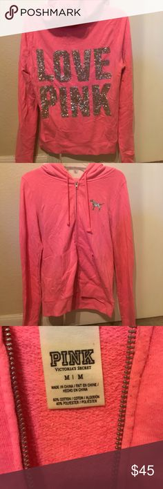 Victoria Secret PINK Neon Pink Jacket Victoria Secret PINK Neon Pink Jacket. No fading, no stains, no odor, and no sequence missing. Smoke free home and no animal hair on it. Some very little lent balls on it but other then that it's in perfect condition. PINK Victoria's Secret Sweaters