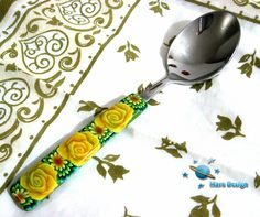 https://flic.kr/p/bqCxeL | Teaspoon covered with polymer clay canes