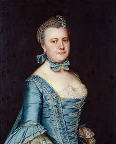 Portrait d'une femme en robe de satin bleu, 1760 Christian Friedrich Reinhold von Lisiewski