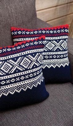 Norwegian Marius pattern: Pillows (Tanum) Sweater Pillow, Crochet Pillow, Knit Crochet, Fair Isle Knitting Patterns, Knit Patterns, Knitting Yarn, Hand Knitting, Norwegian Knitting, Knitted Cushions