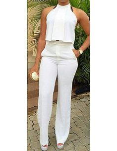 Product Code: TJM0360268 Gender: Female Age Group: Adult Color:white Pattern: Solid Color Material: polyester and spandex Unique design and the latest stylish jumpsuits and rompers collections are ava