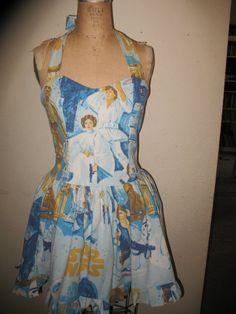 Custom made to order Vintage Star Wars Ruffled SweetHeart Mini Dress. $145.00, via Etsy.