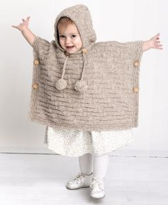 Pom-Pom Hooded Pullover Poncho from Deborah Newton's Heirloom Baby Knits!Crochet turn of events ; Knitting For Kids, Crochet For Kids, Loom Knitting, Baby Knitting, Knit Crochet, Crochet Hats, Crochet Stitch, Baby Poncho, Knitted Poncho