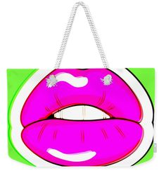 """Kiss Me Weekender Tote Bag (24"""" x 16"""") by Bee-Bee Deigner.  The tote bag includes cotton rope handle for easy carrying on your shoulder.  All totes are available for worldwide shipping and include a money-back guarantee."""